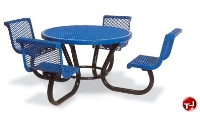"Picture of Outdoor 230, 46"" Round Extra Heavy Duty Steel Dining Table with Contour Seats"