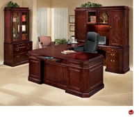 DMI Oxmoor 7376 Traditional Veneer U Shape Office Desk Workstation, Hutch,  Lateral File Bookcase
