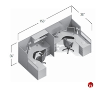 Picture of Global e0+ Modular Two Person Cubicle Cluster Workstation