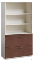 """Picture of 2 Drawer Trace Lateral File Combo Open Cabinet, 36""""W Steel with Laminate Wood Front"""