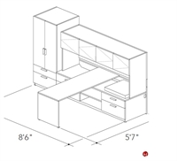 Picture of Abco Keel Contemporary L Shape Office Desk Workstation, Overhead Closed Storage