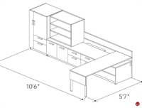 Picture of Abco Keel Contemporary L Shape Office Desk Bench Workstation, Wardrobe Storage
