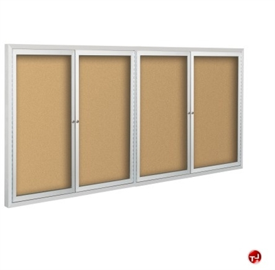 Picture of 4 Hinged Door Bulletin Board Cabinet, 4' x 10'
