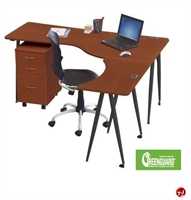 Picture of L Shape Ergonomic Mobile Computer Desk Workstation, File Cabinet