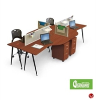 Picture of Cluster of 4 Person Mobile Training Computer Workstation