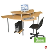 Picture of 2 Person Corner Curve Computer Desk Workstation