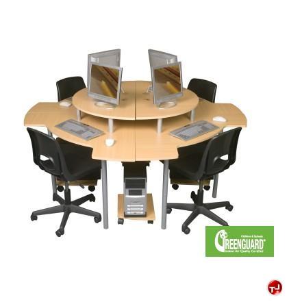Leader. 4 Person Circular Cluster, Curve Computer Desk Workstation