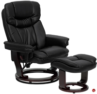 Picture of Brato Black Leather Swivel Recliner with Ottoman