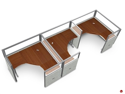 Picture of 3 Person L Shape Office Desk Cubicle Cluster Workstation