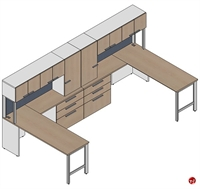 Picture of Milo 2 Person Office Desk Workstation, Overhead Storage Cabinet