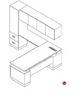 Picture of Nevers Americana Veneer L Shape Office Desk Workstation, Wardrobe Storage
