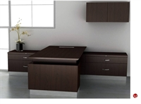 Picture of Nevers Americana Contemporary Veneer L Shape Office Desk Workstation,Wall Storage