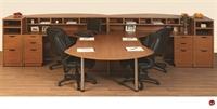 Picture of 2 Person L Shape Laminate Reception Desk Workstation, Filing Sorter Storage