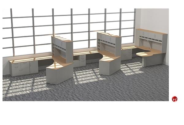 Peblo 3 Person L Shape Office Desk Workstation Overhead Storage
