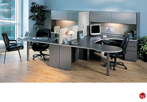 The Office Leader. 2 Person U Shape P-Top Office Desk Workstation