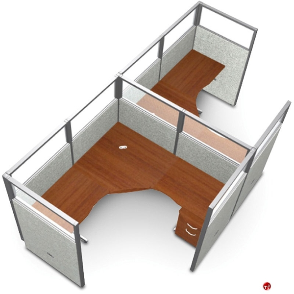 picture of 2 person l shape office desk cubicle cluster workstation