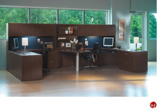 2 Person Laminate U Shape Office Desk Workstation, Overhead Storage