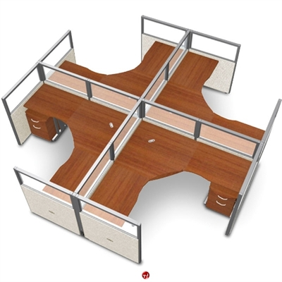 picture of 4 person l shape office desk cubicle cluster workstation