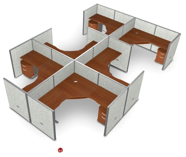picture of 6 person l shape office desk cubicle cluster workstation
