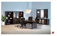 """Picture of 96"""" Conference table, Credenza Storage, Bookcase, Presentation Board"""