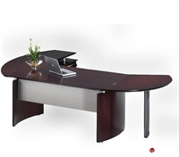 "Picture of Contemporary Veneer 72"" Desk with Filing Pedetal"