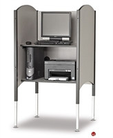 "Picture of 30""W Kiosk Carrel with Printer Shelf and CPU Holder"