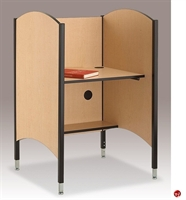 "Picture of 31""W Adjustable Height Study Carrel with CPU Holder"