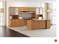 Picture of Bush Milano2 Executive Office Desk Workstation, Glass Door Storage Credenza