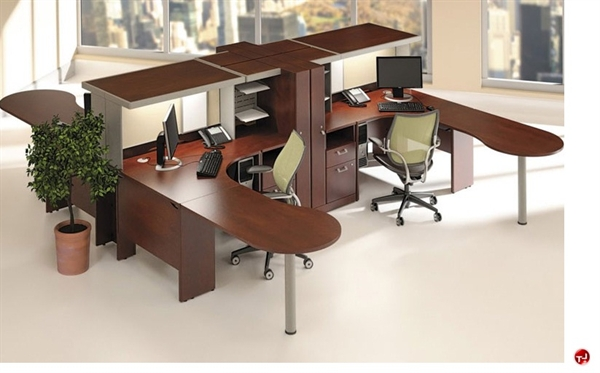 The office leader ades cluster of 4 person l shape desk workstation storage tower - L shaped desk for two people ...