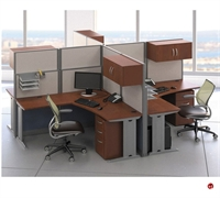 Picture of ADES Cluster of 4 Person L Shape Office Desk Cubicle Workstation