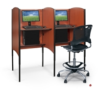 Picture of Cluster of 2 Height Adjustable Study Carrel, Telemarketing Station