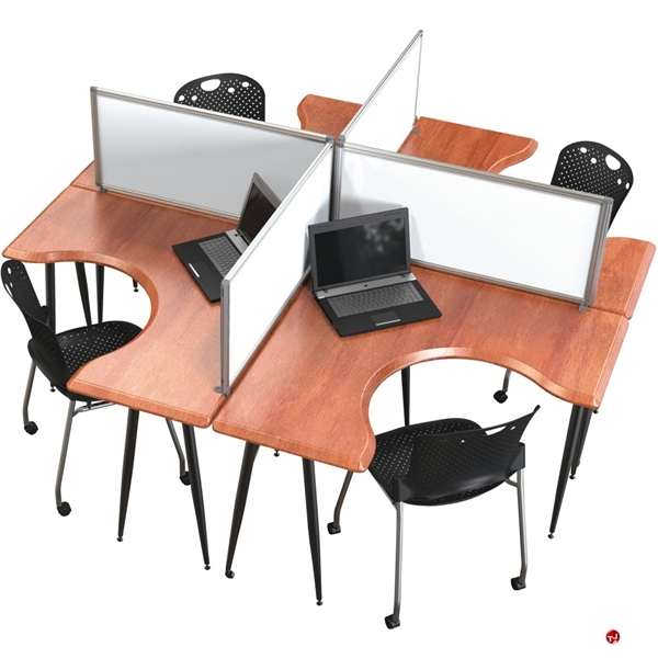 Office Table For 4 Person: The Office Leader. Cluster Of 4 Person L Shape Office Desk