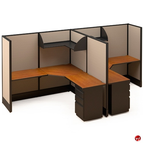 The Office Leader 2 Person L Shape Electrified Cubicle