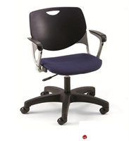 Picture of Bert Plastic Task Swivel Arm Chair, Fabric Seat