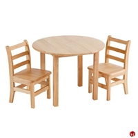 """Picture of Astor 30"""" Round Kids Play Wood Table with 2 Chairs"""