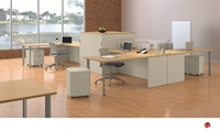 Picture of KI Aristotle 4 Person L Shape Office Desk Workstation, Storage Cabinets