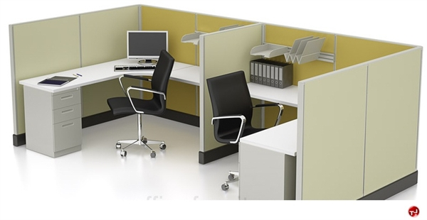 The Office Leader 2 Person L Shape Office Cubicle Workstation