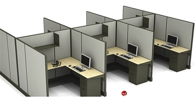 The Office Leader. Cluster of 6 Person L Shape Office Desk Workstation