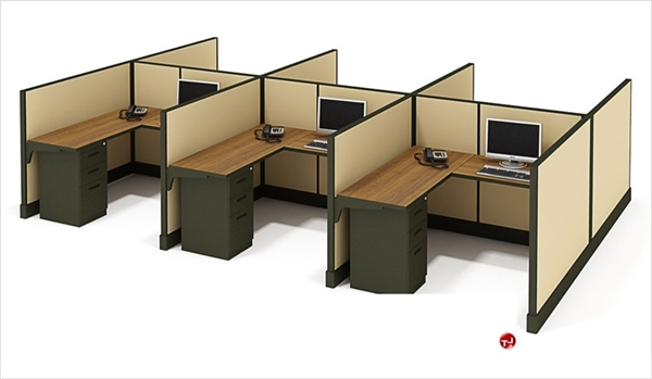 The Office Leader. Cluster of 6 Person L Shape Office Desk Cubicle Workstation