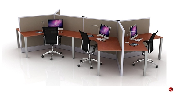 The Office Leader. Cluster of 6 Person L Person Office Desk Cubicle Workstation