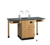 Picture of DEVA Science Lab Medical Study Workstation with Sink, Storage Cabinetry