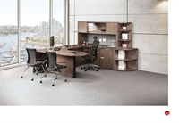 Picture of COPTI  U Shpae D Top Office Desk Workstation, Overhead with Corner Bookcase