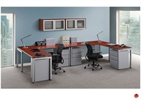 Picture of COPTI 2 Person L Shape Office Desk Steel Workstation, Wall Mount Storage