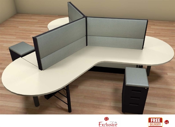Office Furniture: The Office Leader. PEBLO Cluster Of 3 Person Cubicle Desk