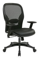 Picture of Ergonomic Mid Back Office Task Mesh Chair with Leather Seat