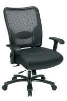 Picture of Big and Tall Ergonomic Mesh Swivel Chair with Leather Seat