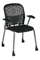 Picture of Ergonomic Heavy Duty Guest Visitor Plastic Mobile Arm Chair, Pack of 2