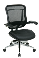 Picture of Ergonomic High Back 300 Lbs Mesh Chair with Leather Seat and Adjustable Lumbar