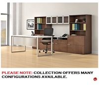"Picture of 72"" Contemporary Table Desk with Wall Storage Credenza"