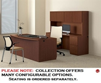 """Picture of 72"""" Bowfront Executive Office Desk Workstation with Kneespace Credenza and Overhead Storage"""